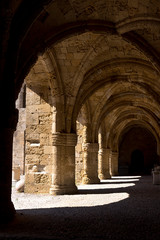 Rhodes Old City - Hospital of the Knights, the medieval loggiato. Today Archaeological museum. Dodecanese Islands, Greece