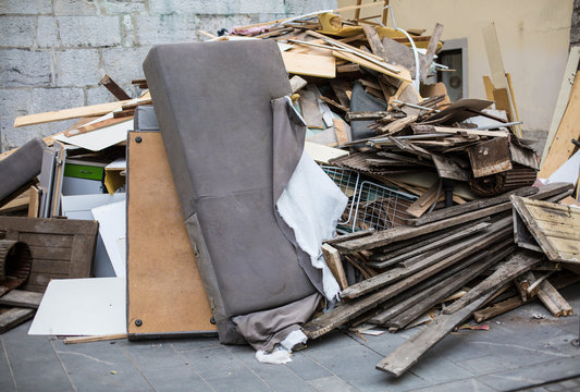 Heap of furniture waste outdoor