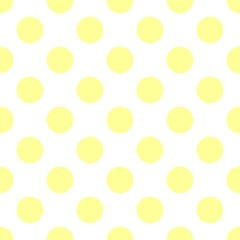 Seamless vector pattern with sunny yellow polka dots on white background. For website design, desktop wallpaper, cards, invitations, wedding or baby shower albums, backgrounds, arts and scrapbooks.