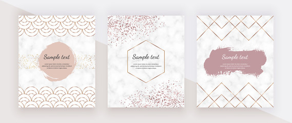Golden geometric polygonal lines, mermaid scale fish, rose gold confetti and watercolor brush stroke and marble texture. Trendy templates for wedding invitation, banner, flyer, poster, greeting.
