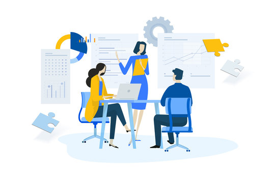 Flat design concept of meeting, business presentation, training, annual report. Vector illustration for website banner, marketing material, business presentation, online advertising.