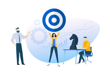 Flat design concept of business goal, strategy, focus group, . Vector illustration for website banner, marketing material, business presentation, online advertising.