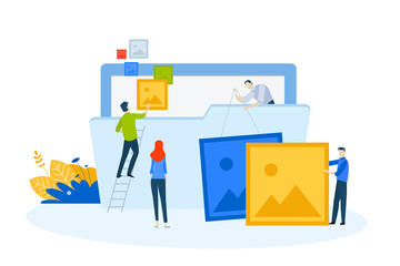 Flat design concept of gallery, portfolio, projects. Vector illustration for website banner, marketing material, business presentation, online advertising.