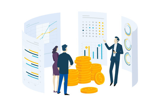 Flat design concept of investment, stock exchange, finance, consulting. Vector illustration for website banner, marketing material, business presentation, online advertising.