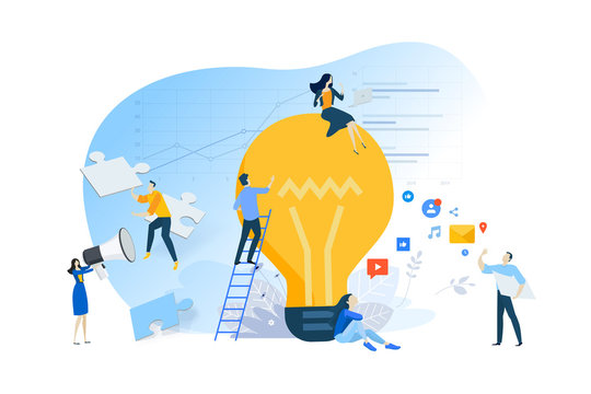 Flat design concept of idea, creative process, teamwork, internet advertising. Vector illustration for website banner, marketing material, business presentation, online advertising.
