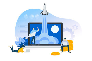 Flat design concept of startup, launch product or service. Vector illustration for website banner, marketing material, business presentation, online advertising.