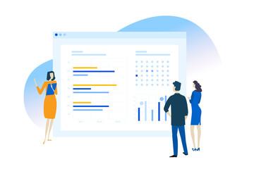 Wall Mural - Flat design concept of business app, data analysis, CRM. Vector illustration for website banner, marketing material, business presentation, online advertising.