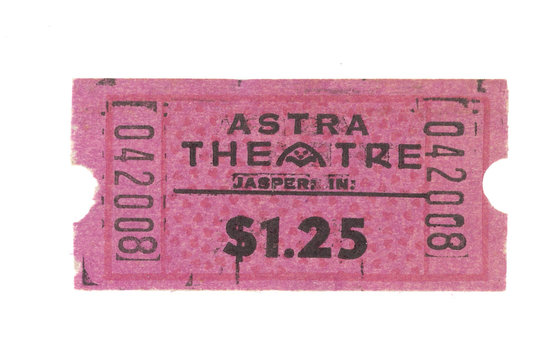 Vintage Retro Ticket Eintrittskarte Astra Theatre 1,25 Dollars rosa pink test nummern move kino film