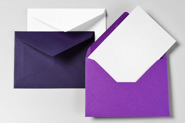 Three Envelopes and Blank Greeting or Thank you Card