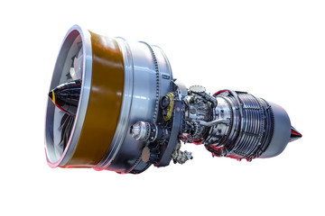 Airplane jet engine isolated on white background, with work path