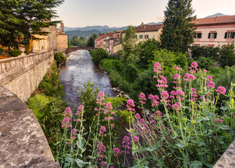 Pontremoli, in Tuscany, Italy: view of the town center with the Magra Bridge and an ancient medieval bridge