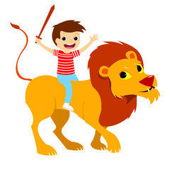 Wooden Sword Child Riding a Lion. Vectoral Illustration for Children Books, Magazines, Blogs.