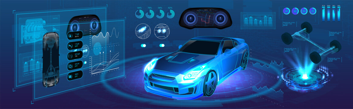 Auto service of the future, high-tech diagnostics car in the style of HUD. Autonomous car vehicle with infographic. Isometric smart car banner. HUD UI interface elements. Vector Illustration