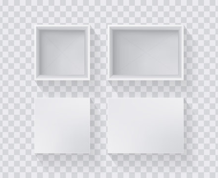 White empty box. Realistic top view. Template for your design. Vector illustration.