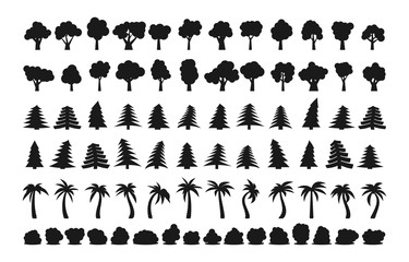 Big set of different dark silhouettes of trees