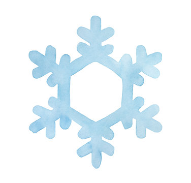 Light blue watercolor snowflake. Beautiful symbol of winter season and New Year holidays. Hand painted water color drawing on white backdrop, cutout clip art element for creative design decoration.