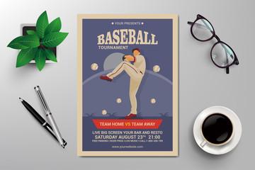 baseball tournament flyer template vector