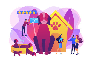 Dog breeding, buying puppy at pet store. Domestic animal. Couple adopting puppy. Breed club, top breed standard, buy your purebred pet here concept. Bright vibrant violet vector isolated illustration