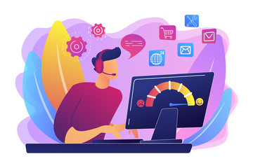 Clients assistance, call center, hotline operator, consultant manager. Customer care, seamless and personalized service, customer experience concept. Bright vibrant violet vector isolated illustration