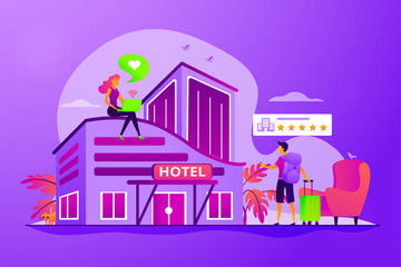 Tourist giving rating stars to hotel. Traveler accommodation. Hospitality industry. Design hotel, modern architecture, unique interior decoration concept. Vector isolated concept creative illustration