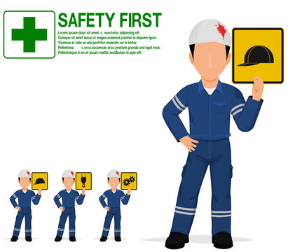 An industrial worker with injured head is presenting warning sign on transparent background