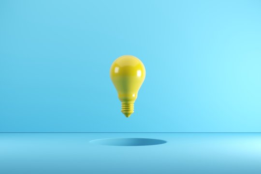 A yellow Light bulb floating on hole. Idea creative Concept. 3D render.