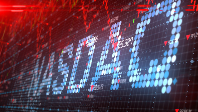 The Nasdaq Stock Market American stock exchange index chart - Conceptual graphic 3D illustration rendering
