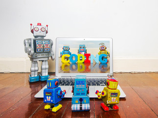 Wall Mural - robot kids learn code from a laptop