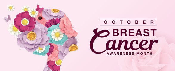 Breast Cancer Awareness Month poster design with silhouette of woman's head and flowers