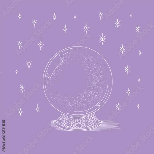 Magic ball sketch star  Hand drawn natural crystal vector