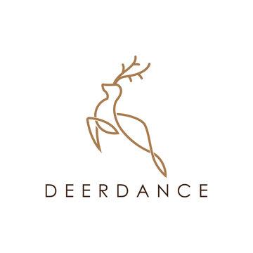 Simple elegant monoline deer logo design.