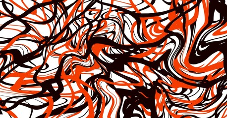 Abstract art expressionism paint brush fluid lines with red black white colors.