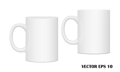 Vector realistic image (layout, mockup) mug(cup) for drinks from different points of view. EPS 10.