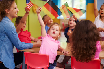 Group of  preschool children learn languages