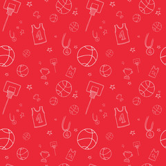 Repeating basketball pattern. Included the icons as basketball hoop, balls, Winner's Cup, medal and more.