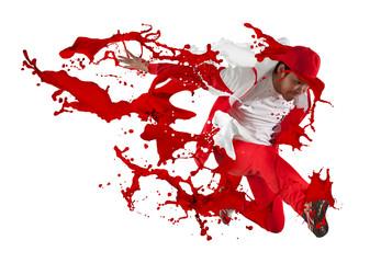 Man break dancing. Red splash