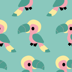 Colorful parrotts in a seamless pattern design