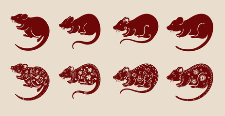 Set of chinese rat on brown  background.Red rat  vector design art highly detailed in chinese style.(Chinese translation : Happy new year)