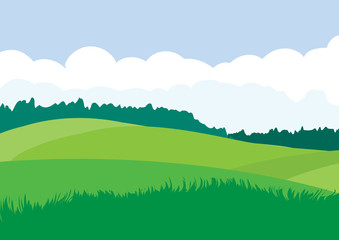 Photo sur Aluminium Bleu ciel Green landscape with yellow fields. Lovely rural nature. Unlimited space. Vector illustration.