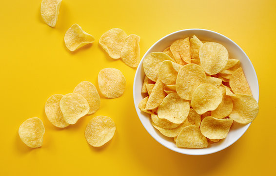 Close-Up Of Potato Chips or Crisps In Bowl