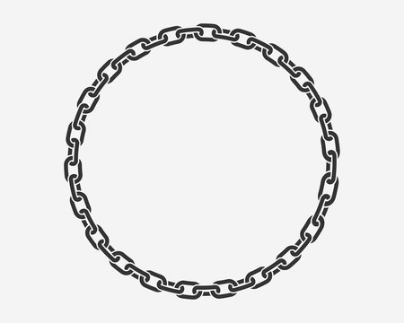 Texture chain round frame. Circle border chains silhouette black and white isolated on background. Chainlet design element.