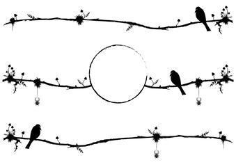 set of vector dividers with raven, spiders and mushrooms in black and white colors
