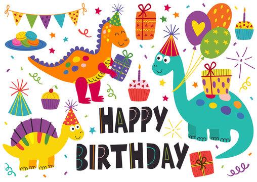 set of isolated cute dinosaurs Happy Birthday - vector illustration, eps