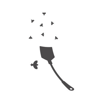 Fly swatter to kill flies and insects icon in flat style.Vector illustration.