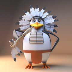Funny 3d penguin native American Indian chief in feathered headdress smoking a peace pipe, 3d illustration