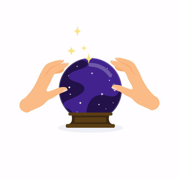 Magic crystal ball with hands. Flat design modern vector illustration concept.