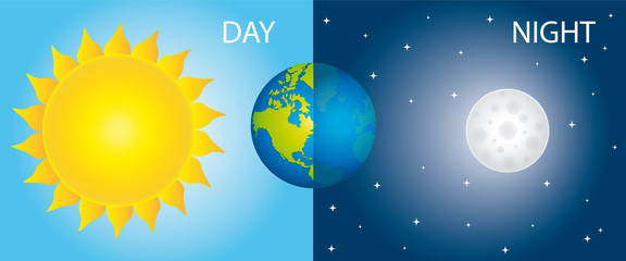 Sun Earth And Moon. Day And Night Vector Illustration.