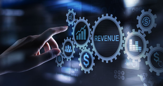 Revenue Increase sales financial growth business concept on virtual screen.