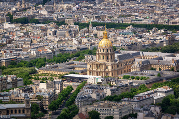 Wall Mural - Aerial view of Dome des Invalides in Paris France