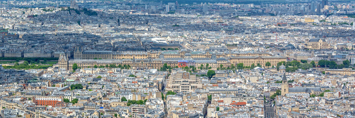 Fototapete - Aerial panoramic scenic view of Paris with the Louvre museum, France and Europe city travel panorama